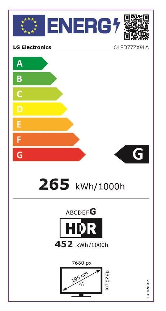 Energijos etiketė OLED77ZX9LA