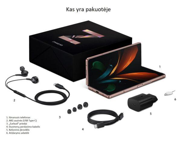 Samsung Galaxy Z Fold2 kas yra pakuotoje
