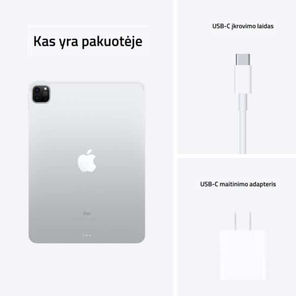 Apple iPad Pro 11 M1 2021 Silver planšetinis kompiuteris kas yra pakuotėje
