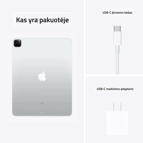 Apple iPad Pro 12.9 M1 2021 Silver planšetinis kompiuteris kas yra pakuotėje